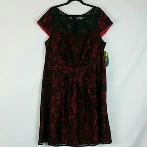 Dana Kay red with black lace overlay dress 18W